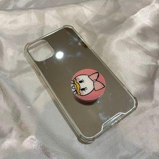 MIRROR SILICONE CASE WITH DAISY POPSOCKET