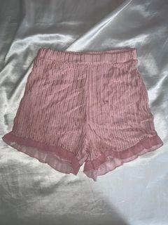 Pink Ruffle Trim Shorts