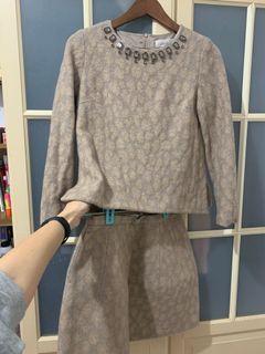 日系品牌31SDM sons de mode動物紋毛料上衣+短裙一套38號