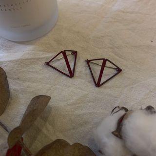立體三角骨架耳環