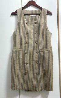 專櫃條紋質感毛料背心裙