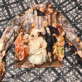 文藝復興 油畫 高領 長袖上衣 歐式 復古