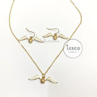 💝 LIMITED [Valentine's Gift + Card] Harry Potter Golden Snitch Necklace & Golden Snitch Earring set with box Earring