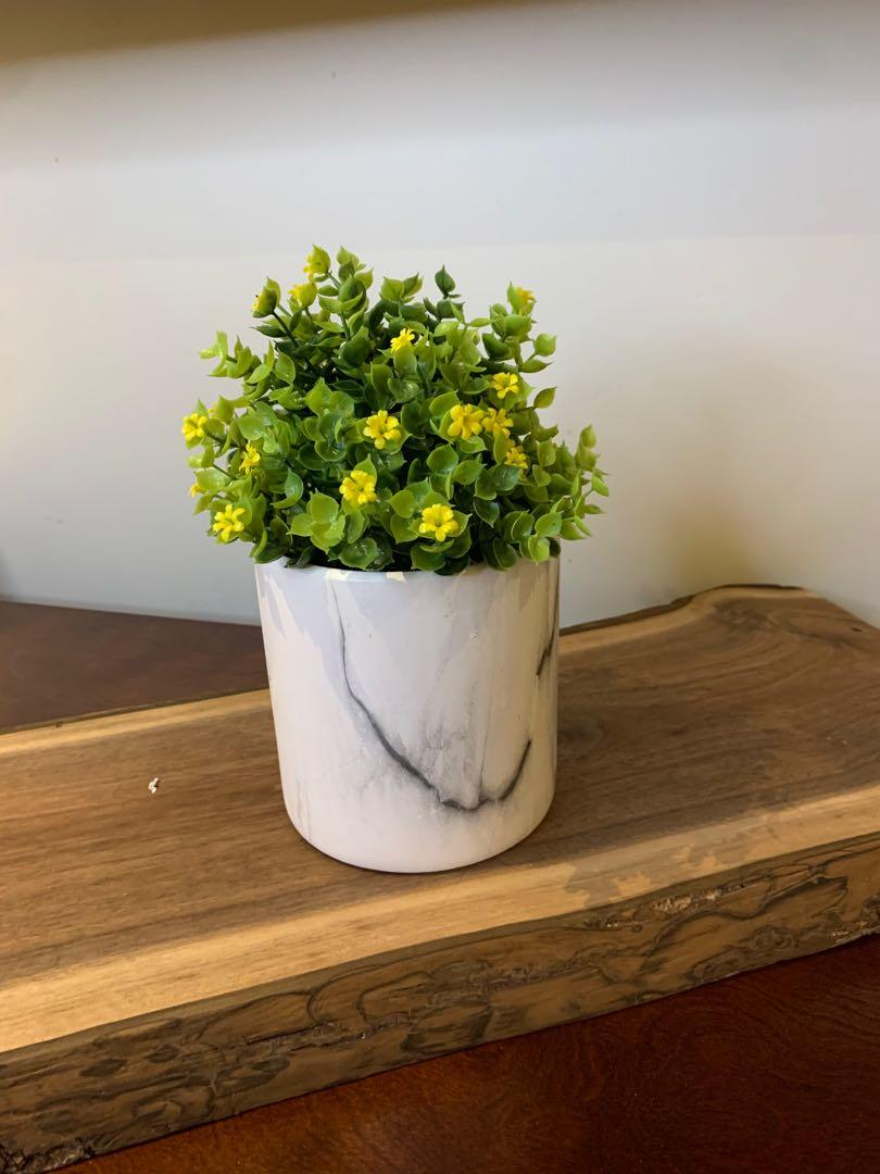 Beautiful Artificial Plant with Marble Pot
