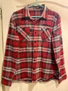 BIG TRAIN 紅色格子棉長袖