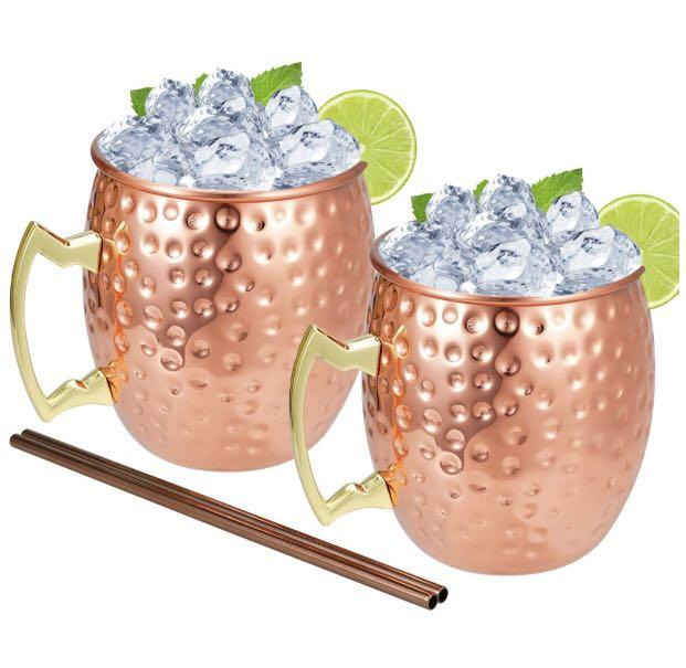 Brand new  Moscow Mule Copper Mugs Gift Set - Set of 2 Copper Cups