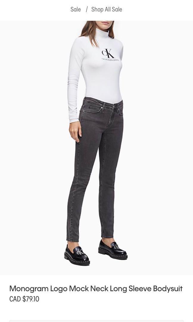 Calvin Klein long sleeve mock neck logo bodysuit