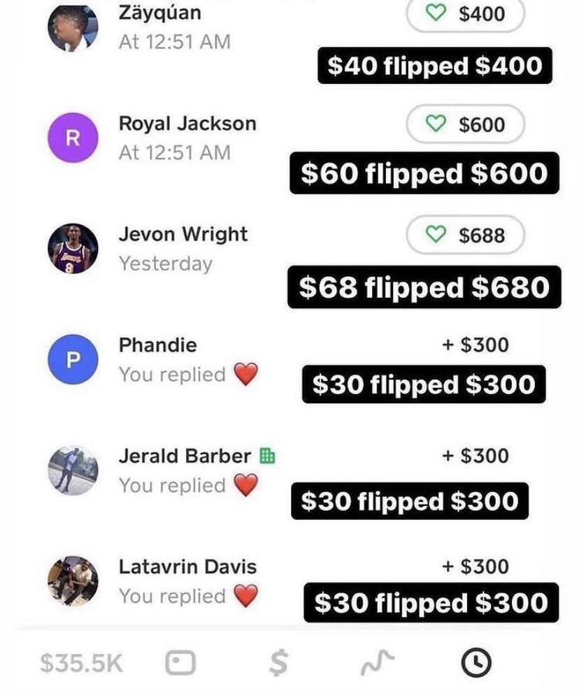 Cash flips and cash app accounts