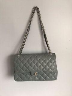 Chanel grey suede jumbo flap bag Small