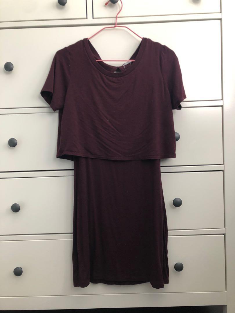 Garage Burgundy Open Back Dress