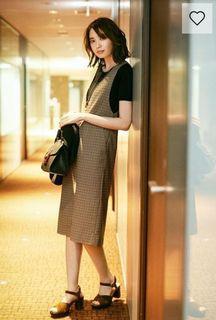 日本GU流行女裝-格紋連身洋裝(S)