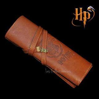 Harry Potter Vintage Pen Pouch Hogwarts Logo Brown Pen Pencil Case Make Up Bag