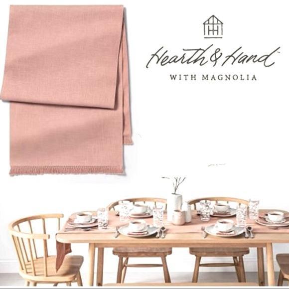 Hearth Hand Blush Pink Cotton Fringe Table Runner
