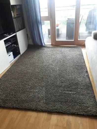 IKEA ADUM karpet tebal 170x240 Abu-abu tua
