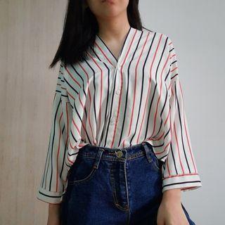 FREE ONGKIR Kemeja Asymmetric Stripes