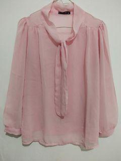 Kemeja Pink Transparant Wanita
