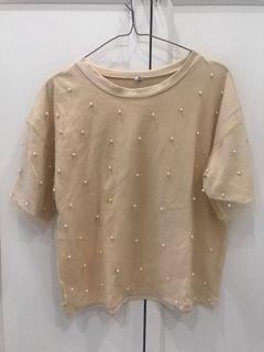 Korean pearl yellow crop shirt