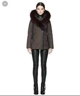 Mackage Adali fitted parka with berry trim XXS