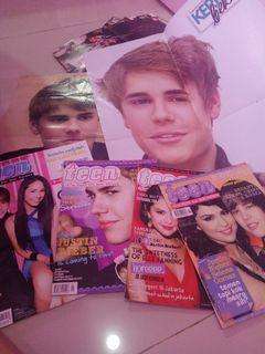Majalah justin Bieber selena gomez + poster