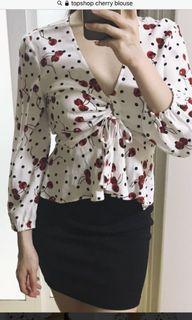 topshop cherry blouse 🍒