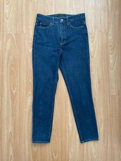 uniqlo celana jeans ultra stretch high rise ankle