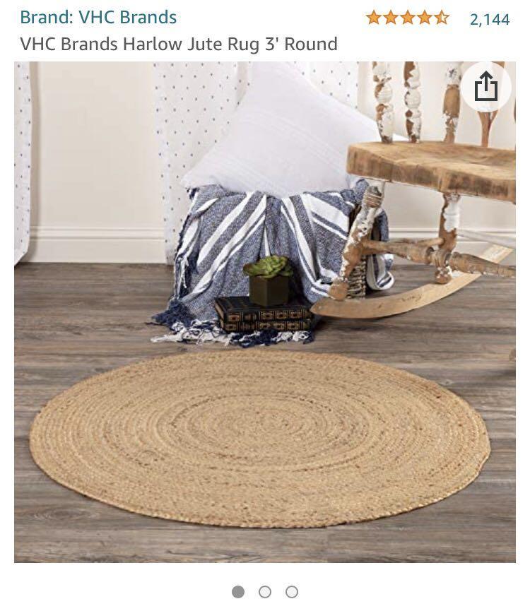 $56 VHC Brands Harlow Jute Rug 3' Round