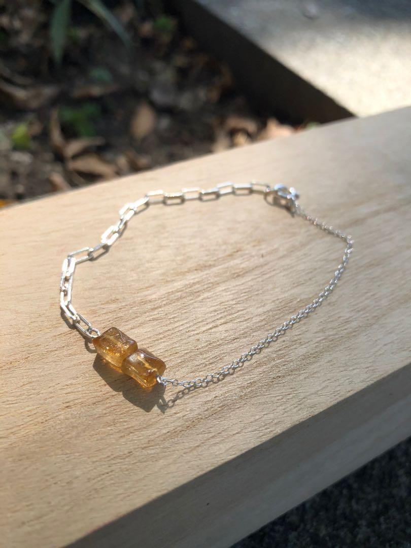 純銀鍊黃色方糖碧璽手鏈