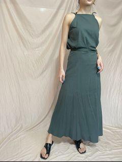 細肩一片裙/兩件式套裝/墨綠色