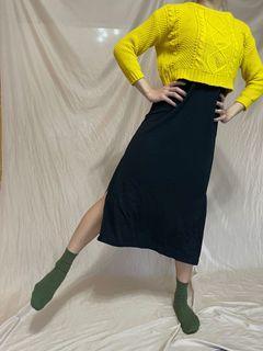 黃色短板針織毛衣