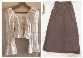 全新 韓set二件組/超美蕾絲鏤空棉麻衫+中磅針織長裙