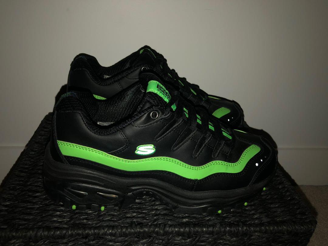 Black Sketchers Chunky Sneaker with Green Detailing