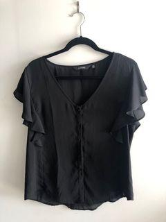 Chiffon Style Blouse Black with Buttons