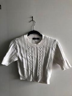 Glassons White Knit Crop Top with Detailing