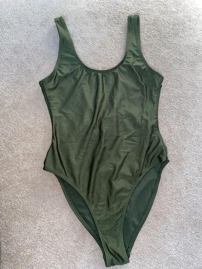 Green low back body suit