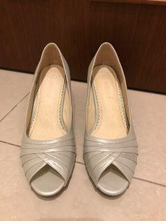 [Green Pine]銀色魚口高跟鞋