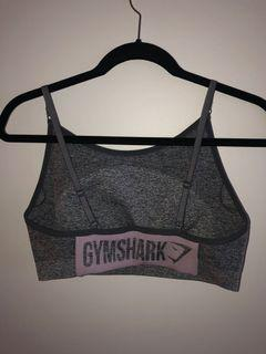 Gymshark Matching Set Grey Marle with Pink Logo Leggings and Bra
