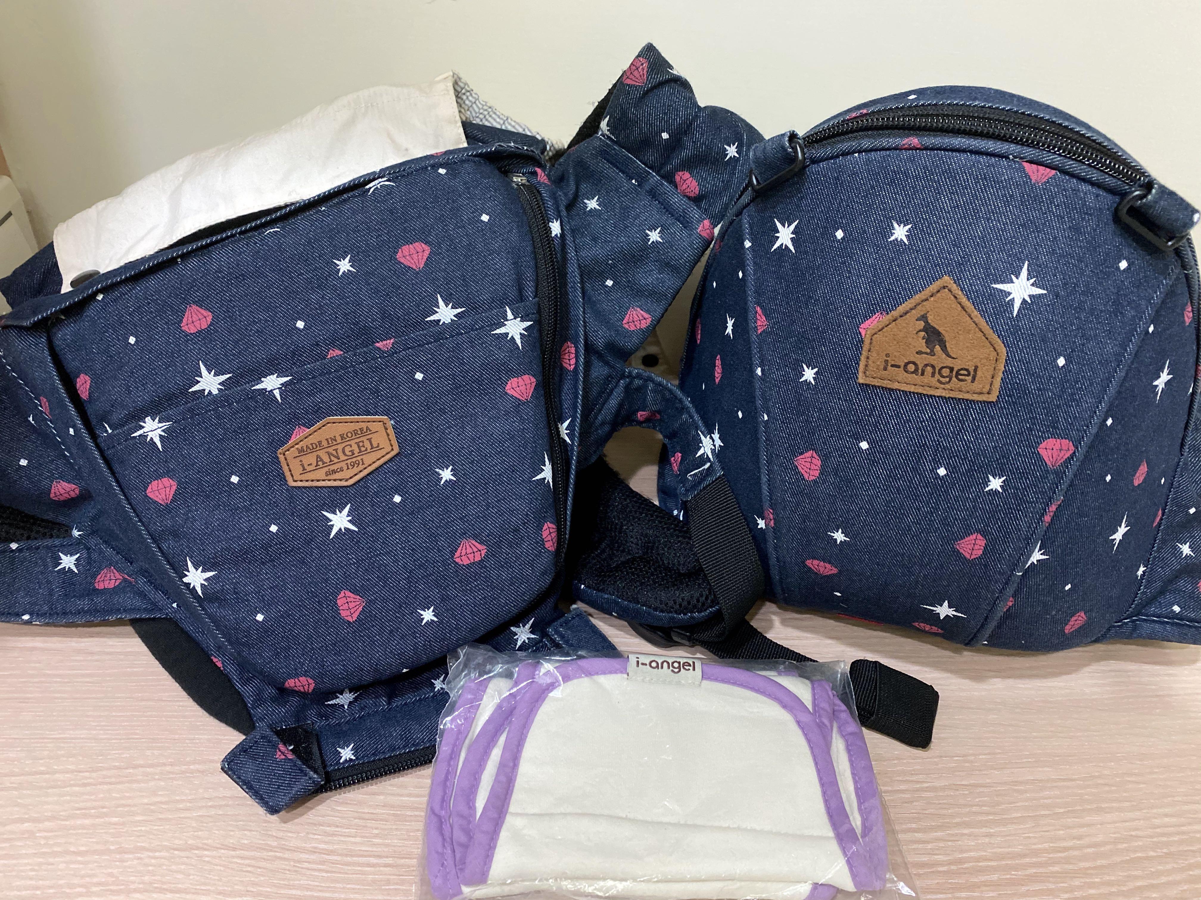 韓國i-angel 袋鼠 - 「全新」有機棉口水巾& (二手近新)腰凳/坐墊式背巾-兩用座椅式背巾-鑽石款 牛仔色