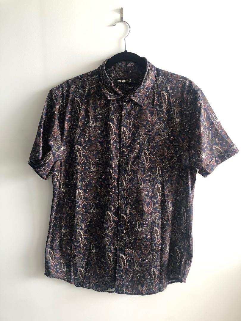 Mens Paisley Button Up Collared T-Shirt