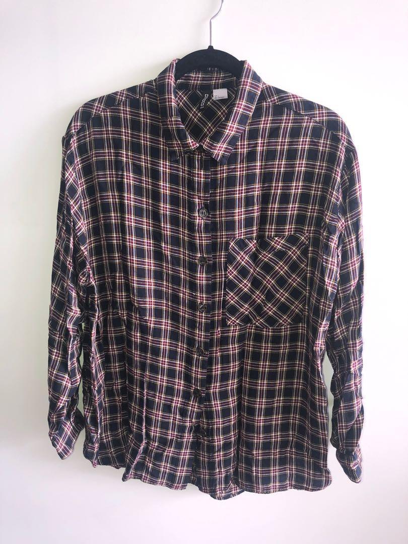 Plaid Shirt Oversized Button Up