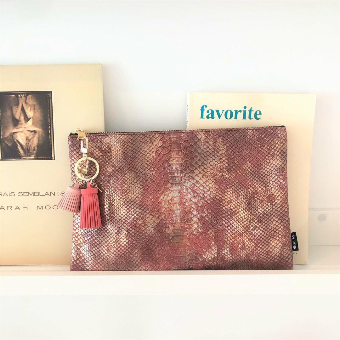Python Gold Indie Pink Clutch with cow leather hand strap