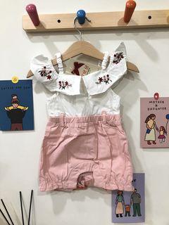 TBB粉色刺繡花花連身(附腰帶)