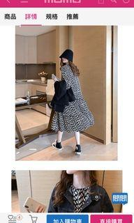黑白雪紡長洋裝