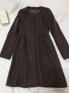 (含運價)正韓 全新保暖厚毛尼洋裝式長大衣/典雅咖