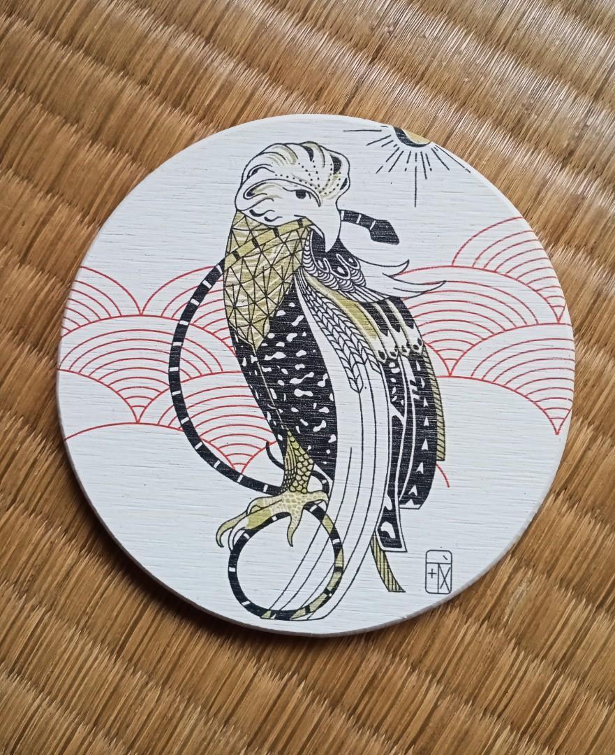 原創插畫 硅藻土杯墊 大冠鷲 蛇鷹