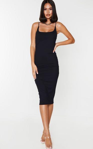 Black midi body con dress