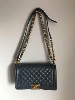 Chanel boy grained leather
