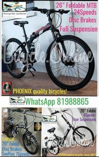 """Foldable / Foldie / Folding Bikes ✩ 20/26"""", 6/7/24Speeds, Suspension ✩ Brand New Bicycles (FOREVER 20""""$229 / PHOENIX 20""""$249 26""""$299)"""