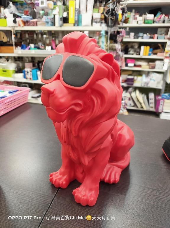 測OK-紅色墨鏡獅子藍芽喇叭25*23CM