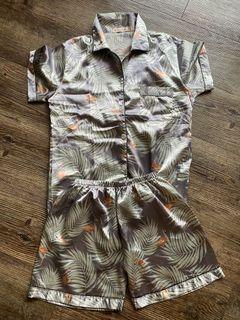 Printed Silk Shorts Pajama Set