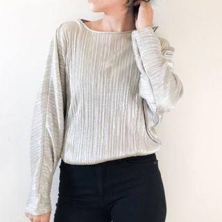 ZARA Gold Pleated blouse